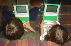 Kids with their new XO laptops